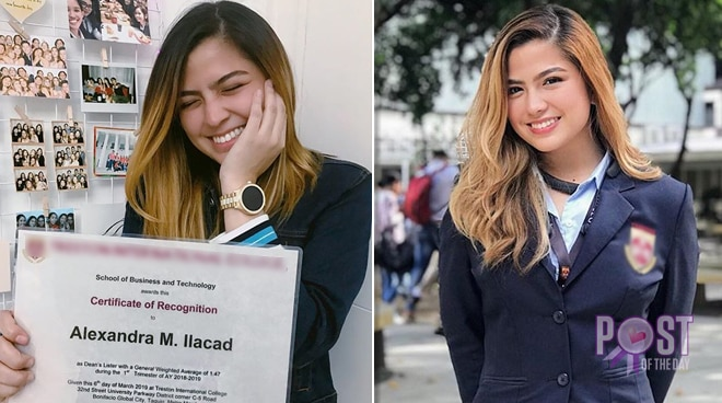 Alexa Ilacad is proud to be a dean's lister