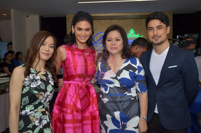 Pia Wurtzbach and Marlon Stockinger at Bluewater Spa's opening.