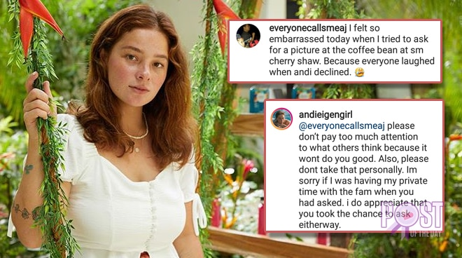 Andi Eigenmann gives advice to netizen who asked her for a selfie