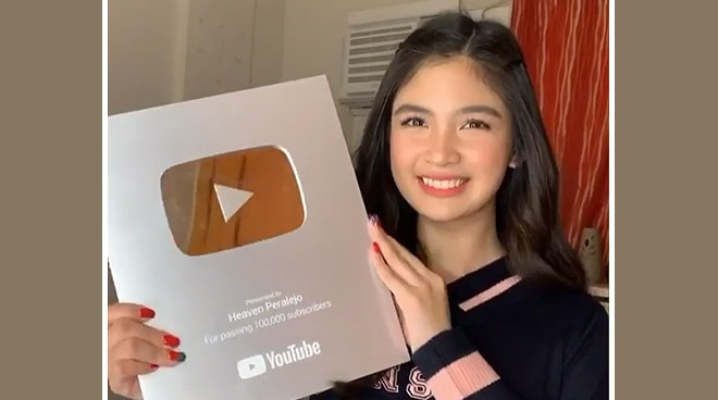 Heaven Peralejo receives Silver Play Button award from YouTube
