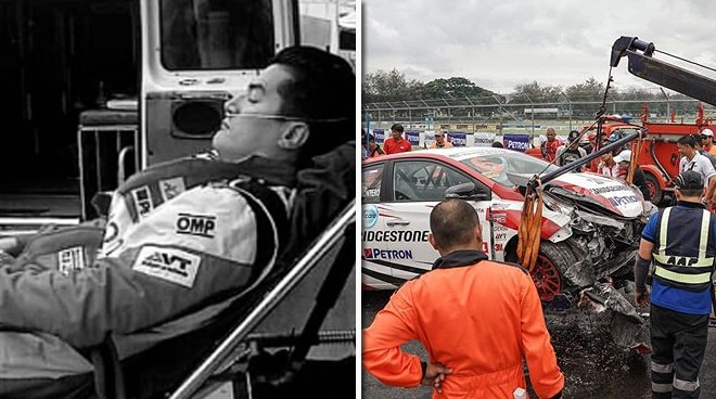 Troy Montero gets into a race car accident