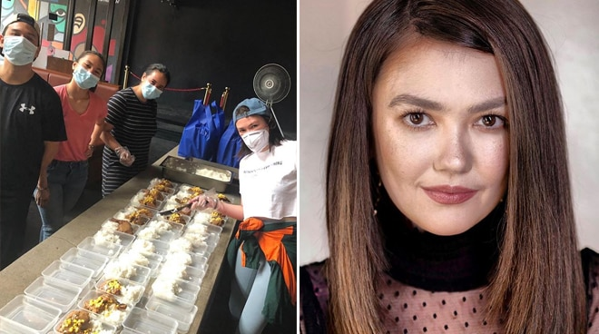 Angelica Panganiban prepares ready-to-eat meals for frontliners, victims of Caloocan fire