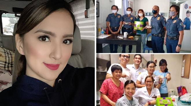LOOK: Ara Mina bakes desserts for police, medical frontliners