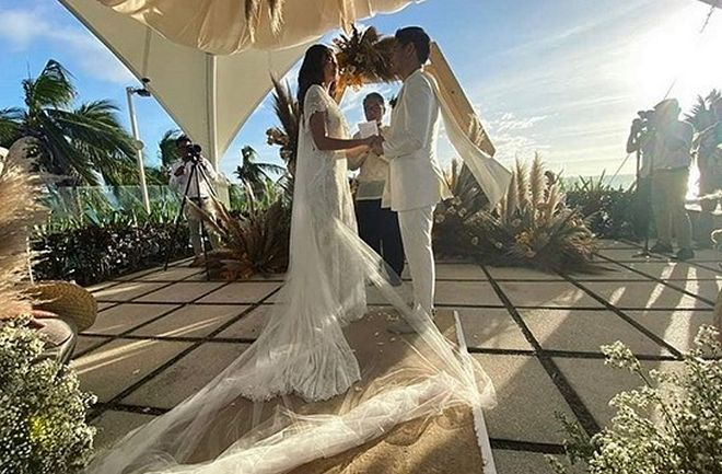 Longtime couple Jay-R and Mica Javier finally tie the knot in a beautiful beach ceremony last March