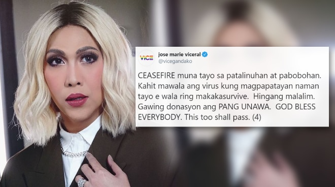 Vice Ganda calls for ceasefire on social media, urges everyone to show compassion