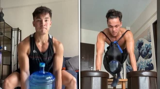 WATCH: Alex Diaz works out at his home-style 'gym'