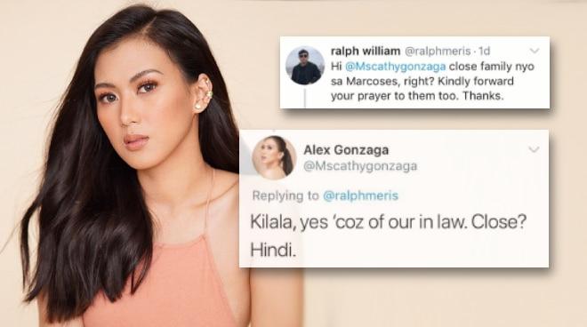 """Alex Gonzaga, itinangging """"close"""" ang pamilya niya sa mga Marcos"""