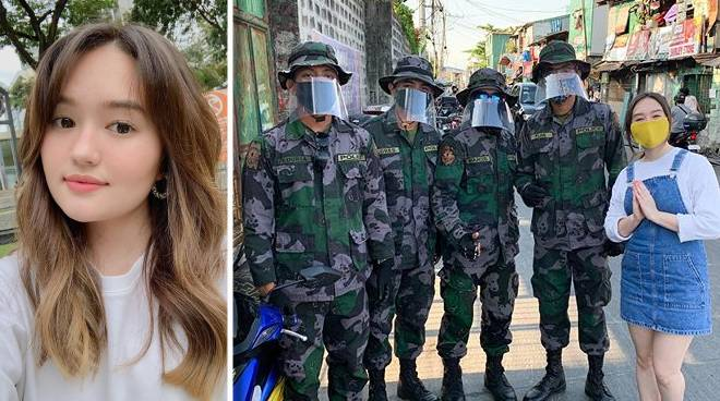 Mika Dela Cruz distributes face masks to frontline workers