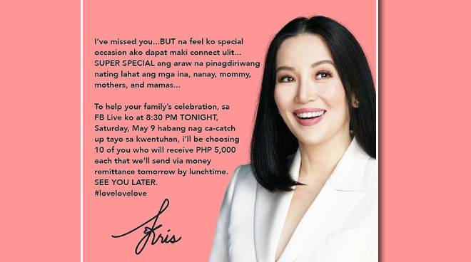 Kris Aquino gives away money to 10 families for Mother's Day