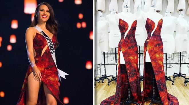 LOOK: Mak Tumang recreates 'Mayon' gown of Catriona Gray for Madame Tussauds