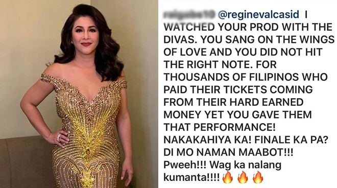 Regine Velasquez claps back at basher who called her out for 'failure' to reach high notes