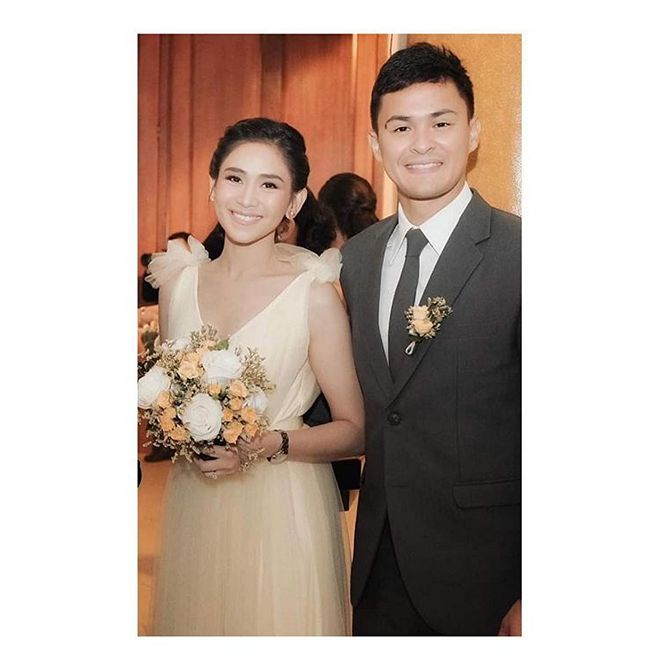 Sarah Geronimo was spotted at the wedding ceremony of her boyfriend Matteo Guidicelli's sister
